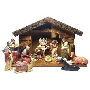 VTG Hand Painted 13 Piece Porcelain Nativity Set